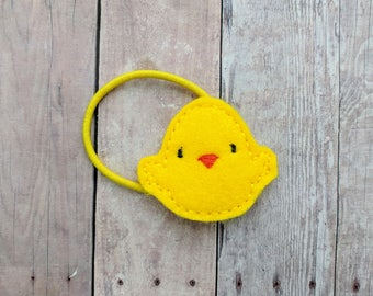 Baby Chick Clip, Yellow Embroidered Acrylic Felt, Choose Headband, Pin, Hair Clip, Ponytail, Shoe Clip, Barrette, Magnet, Easter Hair Clip
