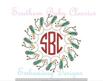 Christmas Snowman Wreath Pine Holly Mistletoe Shabby Vintage Stitch Line Work  Design File for Embroidery Machine  Instant Download