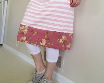 Pink Stripped + Floral Modest Exercise/Swim Skirt with Built-in Leggings