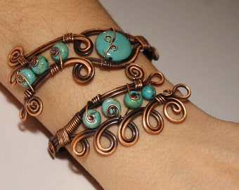 turquoise bracelet wire wrapped jewelry handmade copper jewelry turquoise cuff bracelet in handmade