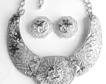 Jose Barrera Falling Leaves Necklace Set - Silver Tone - S1858