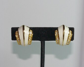 Christian Dior Clip On Earrings - Gold Tone with White Enameling and Crystals - S2422
