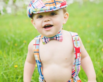 Boys first Birthday outfit, madras check 1st Birthday outfit, boy Birthday photo shoot, cake smash outfit for boy   -  made to order