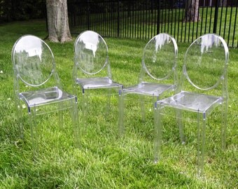 Vintage Ghost Stacking Chairs - Set of 4
