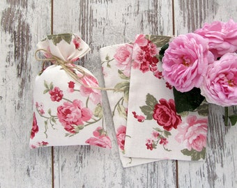 10 Floral favor bags, Roses gift bags, Baptism favor bags, Pink candy bags, Wedding gift bags, Boho wedding favors - 4 х 6