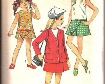 Rare 70s Girls Pantdress and Unlined Jacket Vintage Sewing Pattern / Simplicity 8718 / Size 7