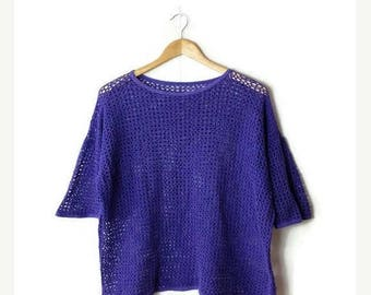 ON SALE Vintage Purple  Mesh / Crochet Cotton Short sleeve T-shirt from 80's *