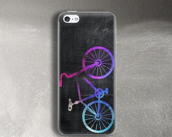 Neon bicycle case for iPhone 5 Case bright for iPhone SE Case rubber for iPhone 5s Case for cyclist bike lover for iPhone 5c
