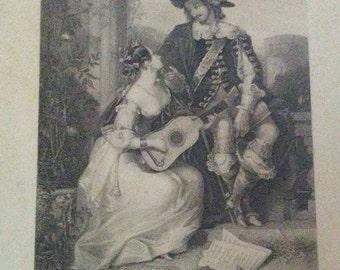 "Antique giclee/ print ""Love"" edwar Corbould 1800s"