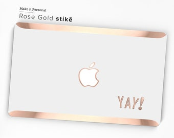 YAY! Stikē - Embossed Rose Gold Letters Decal and Monogram - Touch of Personality and glamour for your Macbook - Platinum Edition Stike