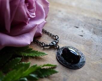 Black Onyx Ornate Brass Necklace - Victorian Necklace
