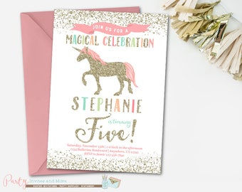 Unicorn Birthday Invitation, Unicorn Invitation, Rainbow Unicorn Invitation, Magical Unicorn Birthday Invitation, Girl Birthday Invitation