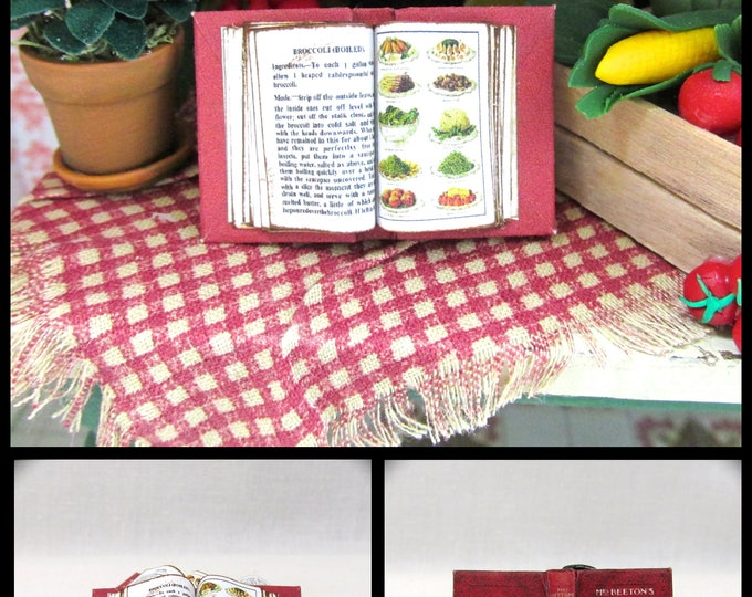 Open Book MRS BEETON'S COOKERY Cookbook #2 Miniature Dollhouse 1:12 Scale Book Vegetables Side Dishes Food Kitchen Cook