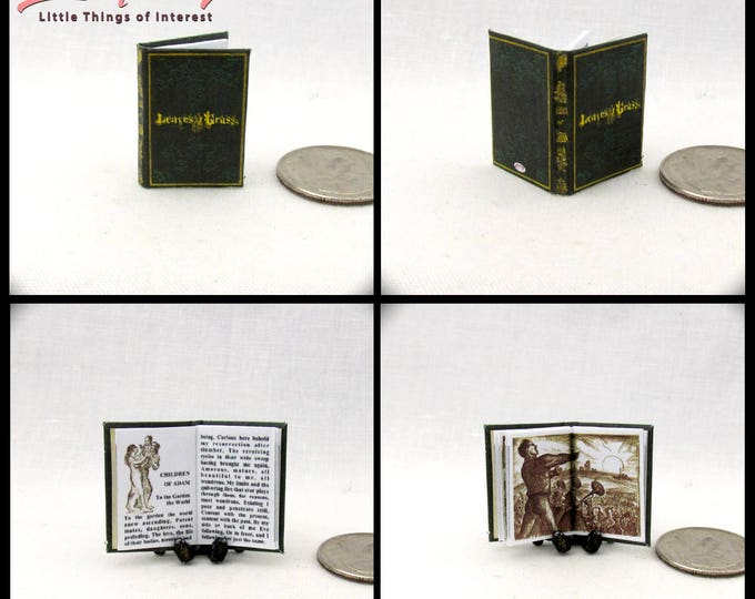 LEAVES OF GRASS Miniature Illustrated Readable Book Dollhouse 1:12 Scale Walt Whitman