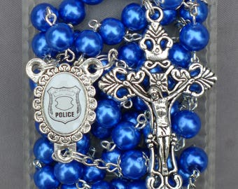 Police Department / Policeman / Policemen - 8mm Blue Glass Rosary