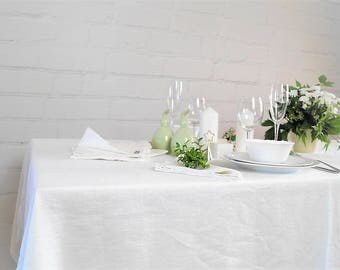 White Linen Tablecloth, Pure linen tablecloth, Wedding tablecloth, Birthday tablecloth, White linen