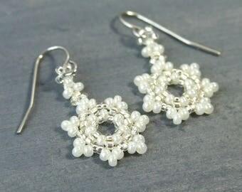 Pearl White Snowflake Earrings, Small Beaded Earrings Glass Winter Earrings, Stocking Stuffers For Women, Snowflake Jewelry Handmade Gifts