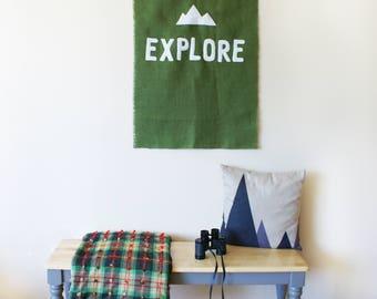 "EXPLORE Wall Mural 24""x 38"" Wanderlust Adventure Mountain climbing Cabin Green Burlap home decor art words white fabric typography hippie"