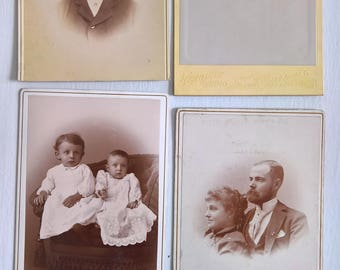 Our Family Ancestors Antique Photograph Cabinet Cards Set --- Victorian Edwardian Era Home Decor -- Vintage Memories Old Haunted House Style