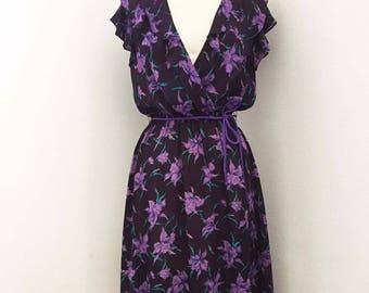 Floral Purple Chiffon Dress