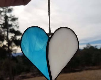 Stained Glass Heart - Stained Glass Suncatcher - Wall Decor - Stained Glass Ornament - Glass Heart Ornament