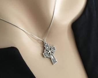 LADIES Sterling Celtic Cross Pendant Necklace Solid 925 Sterling Silver VERY DETAILED