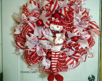 Winter Wreath, Holiday Wreath, Christmas Wreath, Winter Door, Red Door Wreath, Porch Decor, Whimsical Snowman, 26 inch Wreath, Ornaments