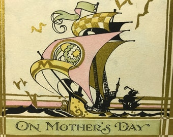ON MOTHER'S DAY…1920's Art Deco Gold Gilded Hand Colored, a Buzza Greeting Card, Unused
