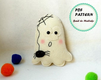 Halloween felt ghost ornament felt ghost pattern Halloween Tutorial easy pattern Felt ghost ornament Halloween PDF kids craft  ghost doll