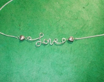 LOVE Silver Hearts and Red Crystal Adjustable Necklace (C)