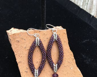 Beaded purple raspberry silver peyote stitched dangle earrings