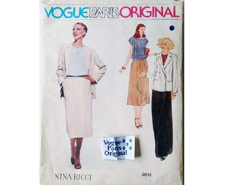 "UNCUT inc Sew in Label Vogue Paris Original #2013 Nina Ricci Pant Suit Jacket Top Skirt Trouser Culotte Sewing Pattern Size Bust 32.5"" UK 10"