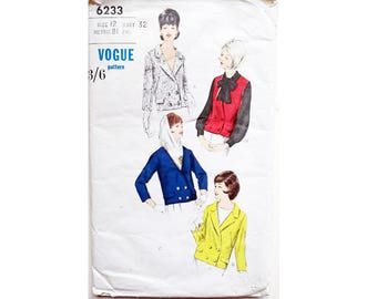 """Vintage 60's Vogue 6233 Double Breasted Blazer Jacket or Vest Waistcoat Sewing Pattern 4 Options Size Bust 32"""" UK 10"""