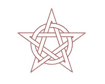Machine Embroidery Design Instant Download - Quilting Redwork Outline Interlaced Pentacle 1