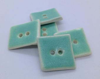 Ceramic Buttons, Square Buttons, Green Clay Buttons, Pottery Buttons, Stoneware Buttons, Sewing Buttons, Ceramic Beads, Price Per Button