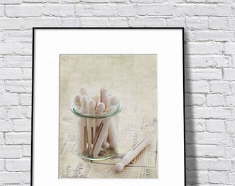 Laundry Room Art, Neutral Laundry Decor, Clothes Pins Photography, Beige Print, Beige Art, Beige Tone Print, Rustic Laundry Decor