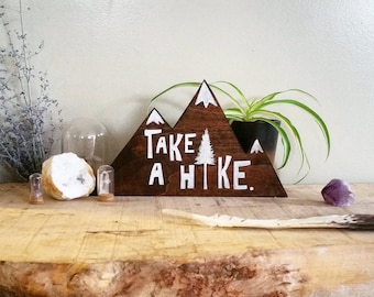 Take a hike reclaimed wood sign, rustic wood sign, rustic home decor