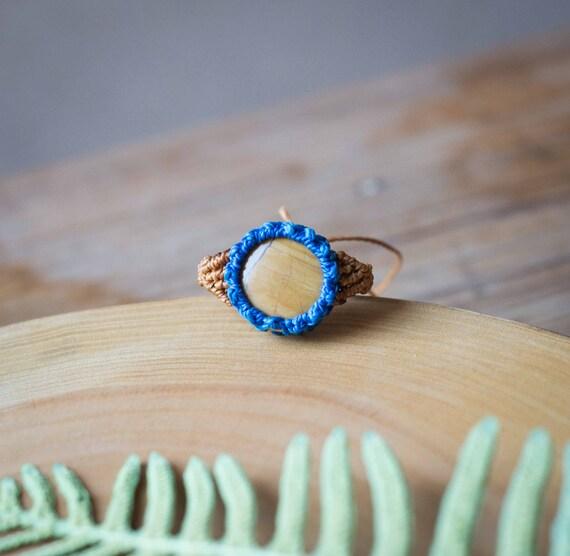Mustard macrame ring