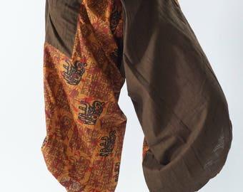 SR0286 Samurai pants with Unique Hilltribe fabric Wrap Around