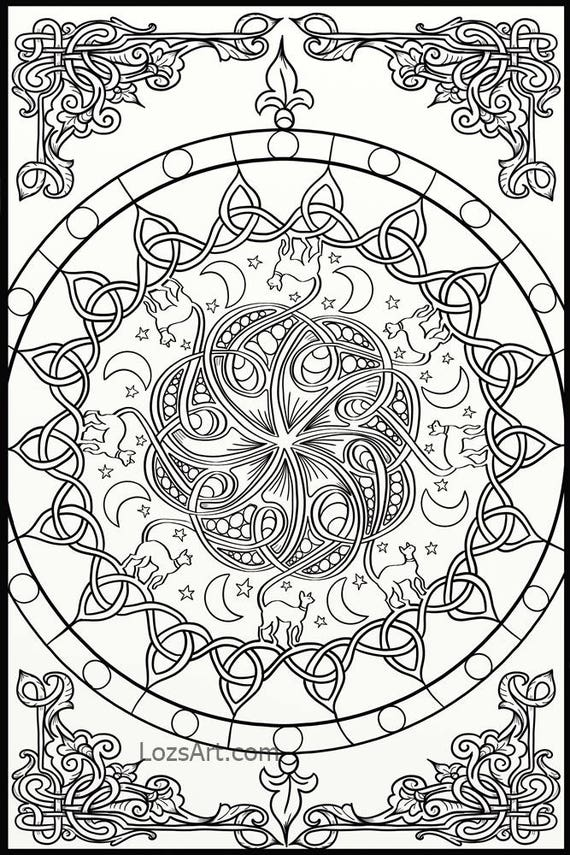 10 x Celtic Knots & Mandala Adult Coloring Pages Instant PDF