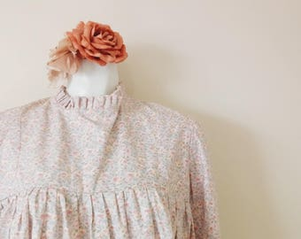 Vintage Pink Delicate Floral Print Dress