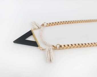 Rose Quartz Beaded Triangle Necklace, Fashion Trendy Jewelry, Triangle Necklace, Edgy Necklace