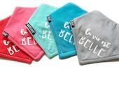La vie est belle, bandana bib, French, Baby bandana bib, hand printed, modern baby, bébé, drool bib, dribble, baby shower gift idea, bibdana