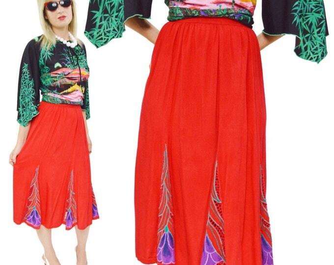 Vintage 80s Red Floral Long A-Line Skirt