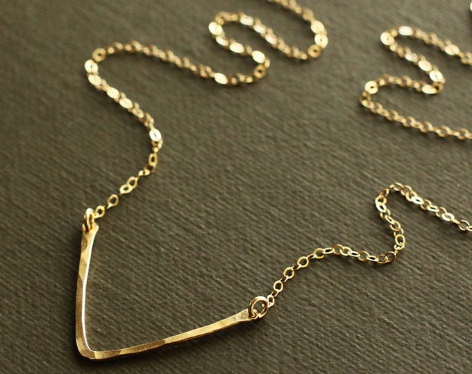 Gold Chevron Necklace - Gold Arrow Necklace - Gold Triangle Necklace - Hand Hammered 14K Gold Filled Bar