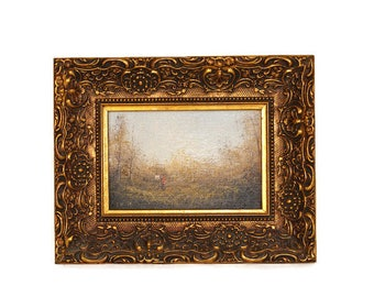 Lester Hughes Painting, Miniature Lester Hughes Painting, Framed Miniature Painting, Miniature Oil Painting, Miniature Landscape Painting