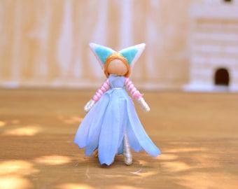 Waldorf Cat Doll - waldorf fairy doll, waldorf fairies, miniature fairy doll, miniature fairies, flower fairy doll, flower fairies,