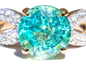 Rare Natural 3.55 ct Paraiba Tourmaline & Diamond 18K Ring
