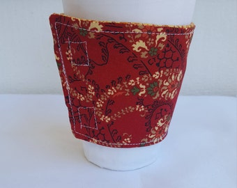 Beverage or Coffee cozy - red floral print - reversible