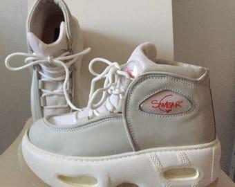 SALE SWEAR eu 39 ultra RARE platform sneakers off white leather nylon rave club kid boots 90s